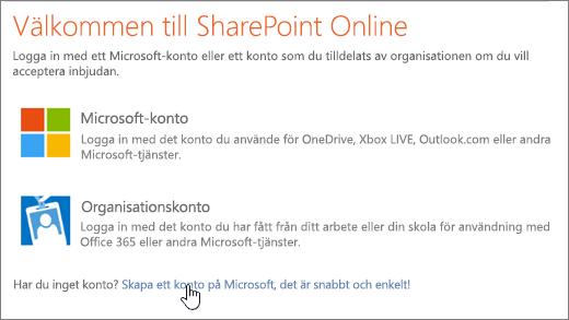 En skärmbild som visar inloggningsfönstret för SharePoint Online, med länken för att skapa ett Microsoft-konto vald.