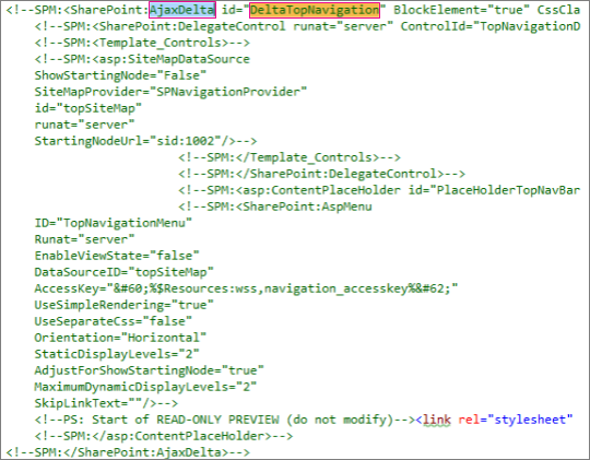 Skärmbild av DeltaTopNavigation-kod som ska tas bort
