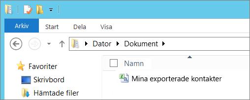 Ange ett namn för filen du exporterar