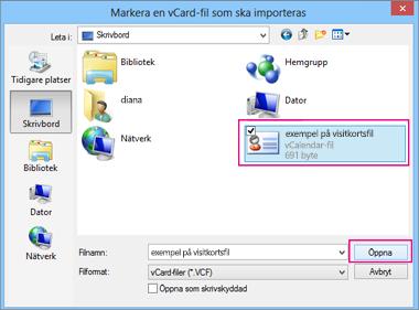 Välj visitkortsfilen du vill importera till .csv-format.