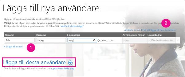 Lägg till användare i din Office 365-innehavare