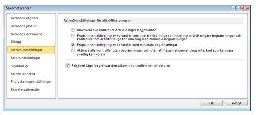 Delen ActiveX-inställningar i Säkerhetscenter