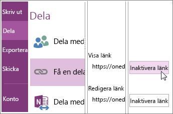 Skärmbild av hur du inaktiverar en länk i OneNote 2016.