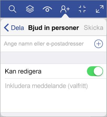 Skriv namn eller e-postadresser och bjud in andra att visa ditt diagram i Visio Viewer för iPad.