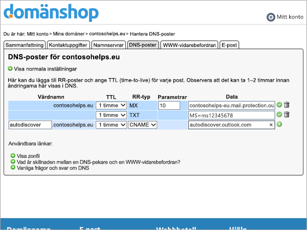 Resurspost postvärden i Domainnameshop