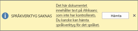Meddelandet om saknade språkverktyg