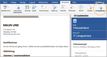 CV-fönstret på vänster sida av skärmen och CV-assistenten till höger