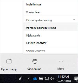 En skärmbild av menyn för den nya synkroniseringsklienten för OneDrive för företag med Hantera lagring valt.