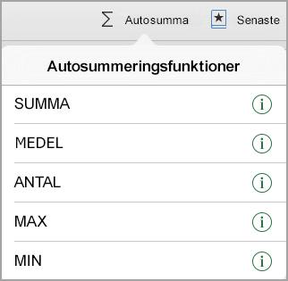 Menyn Funktioner för Autosumma