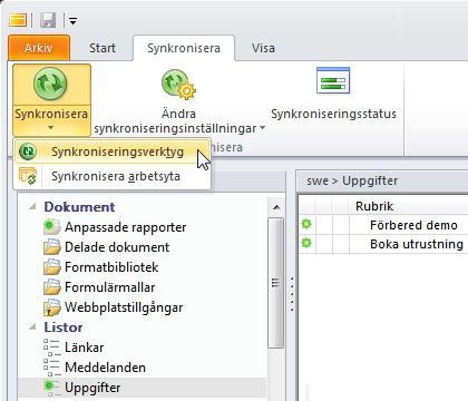 Kommandot Synkroniseringsverktyg