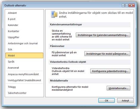 Konfigurationsmeny för SMS-aviseringar