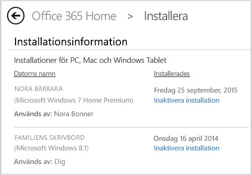Sidan Installera där datornamnet och namnet på den person som installerade Office visas.