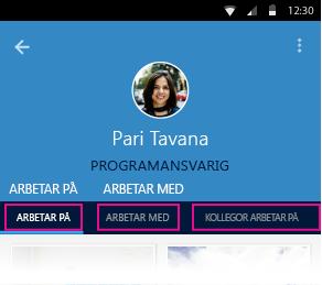 Delve för Android, personsida