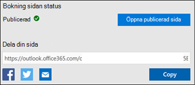 Skärm bild: kopiera URL-adressen från din boknings sida