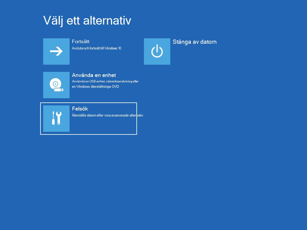 """Visar skärmen """"Välj ett alternativ"""" med alternativet """"Felsök"""" markerat."""