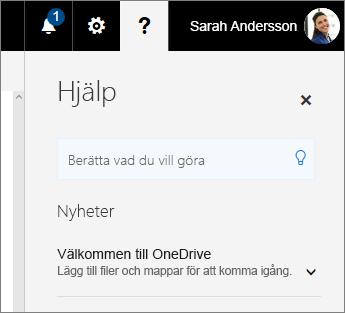 Hjälpfönstret i OneDrive för företag