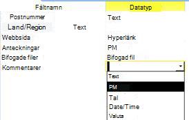 lägg till ett nytt fält till en tabell från designvyn