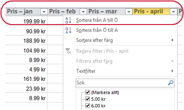 Autofilter som visas i kolumnrubriker i en Excel-tabell