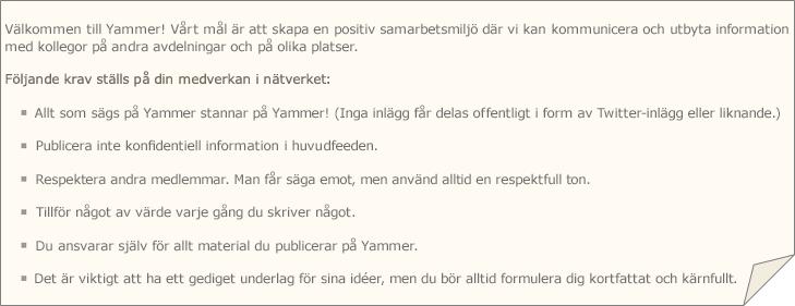 Ett exempel på policy för Yammer