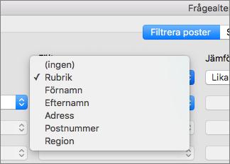 Klicka på det fält du vill filtrera efter