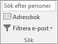 I Outlook, på fliken Start, i gruppen Sök väljer du Adressbok.