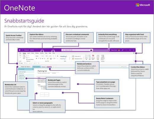 Snabbstartsguide för OneNote 2016 (Windows)