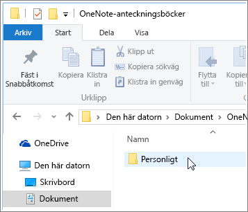 Skärmbild av mappen Windows-dokument med mappen OneNote-anteckningsbok synlig.
