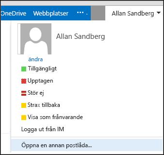 Menyalternativet Öppna en annan postlåda i Outlook Web App
