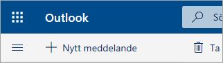 En skärmbild av det övre vänstra hörnet av Outlook.com-betapostlådan