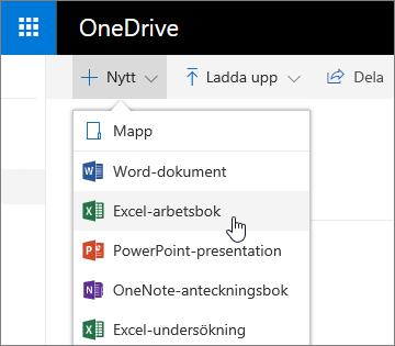 Menyn Nytt i OneDrive, kommandot Excel-arbetsbok