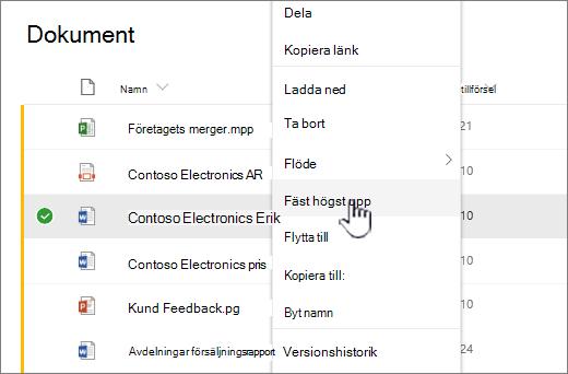 Klicka på Fäst i upp om du vill markera ett dokument