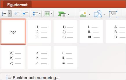 Skärmbild av de numreringsformat som är tillgängliga när du väljer pilen på knappen Numrerad lista