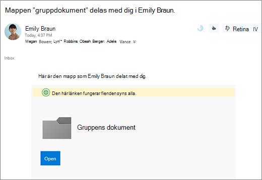 Skicka e-post med länk till dela OneDrive-mappen