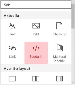 Skärmbild av menyn Bädda in innehåll i SharePoint.