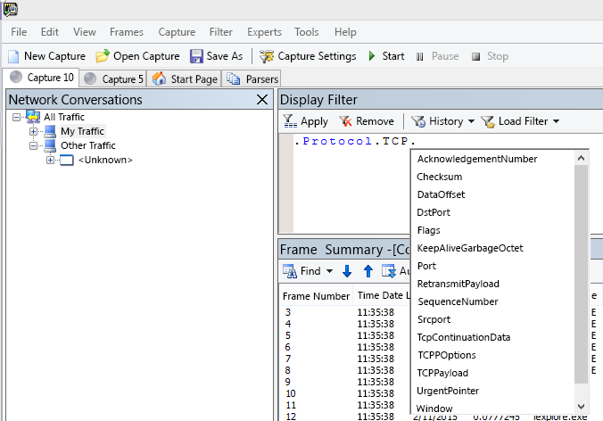 Skärmbild av Netmon som visar att fältet Visa filter använder IntelliSense.