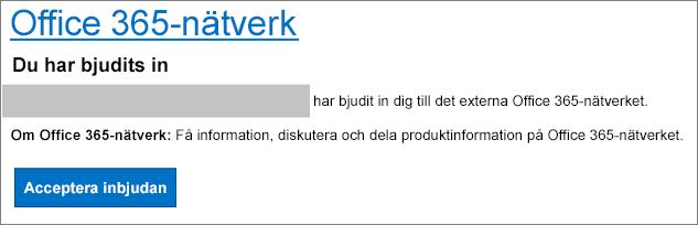 Godkännande via e-post av externt nätverk