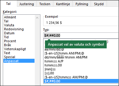 Funktionen TEXT – Anpassad valuta med symbol