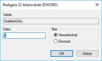 Registereditorn värde 0