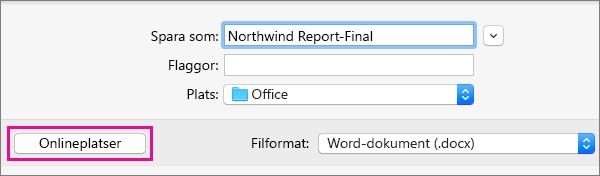 På Arkiv-menyn klickar du på Spara som och sedan på Onlineplatser för att spara ett dokument till en onlineplats.