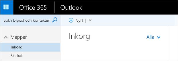 En bild av menyfliksområdet i Outlook på webben.