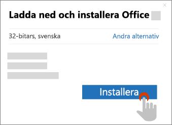Visar knappen Installera i dialogrutan Ladda ner Office