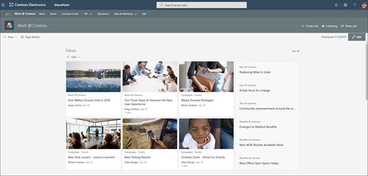 Skärm bild av en nav webbplats med ytterligare hubb navigering