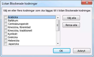Dialogrutan Listan Blockerade kodningar