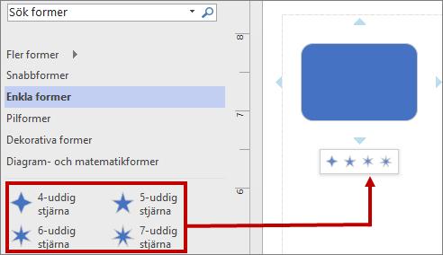 Formateringsverktygsfältet med nya standardfigurer