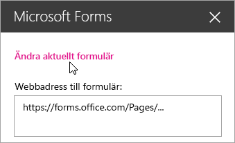 Redigera aktuellt formulär i Microsoft Forms-webbdelspanel för ett befintligt formulär.