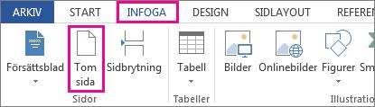 Bild på knappen Tom sida under Infoga