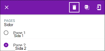 Ta bort en sida i en lång snabbmeny i OneNote för Android