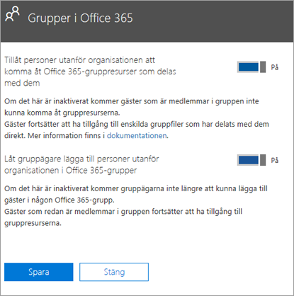 Låta personer utanför min organisation få åtkomst till Office 365-grupper och resurser