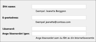 Ange din e-postadress och ditt lösenord