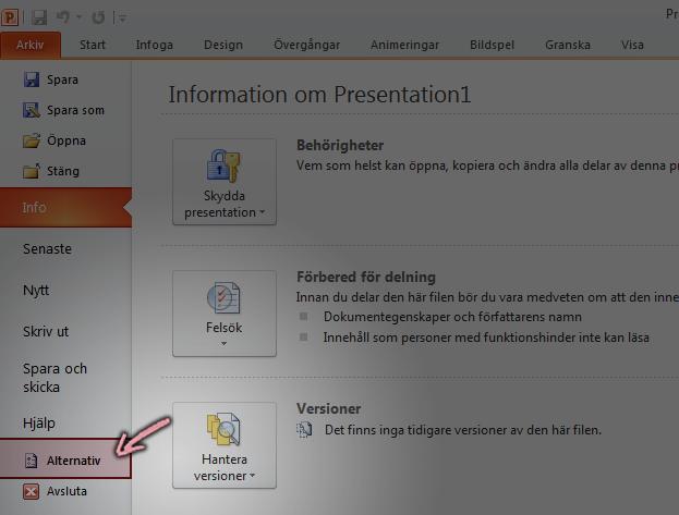 Klicka på alternativ på fliken Arkiv i menyfliksområdet i PowerPoint 2010